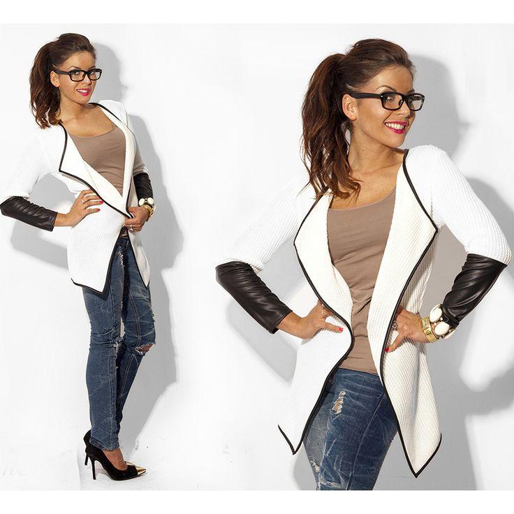 2017夏のファッションロングスリーブ革女性ブラウスセーターカジュアルカーディガン女性のジャケットとコート白グレー黒