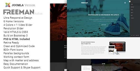 Freeman is a Multipurpose One Page Joomla Theme featuring clean and retina ready design suitable for any studio, creative or personal use. It's suitable for personal, corporate or creative use and it can be perfectly viewed across all devices and browsers.