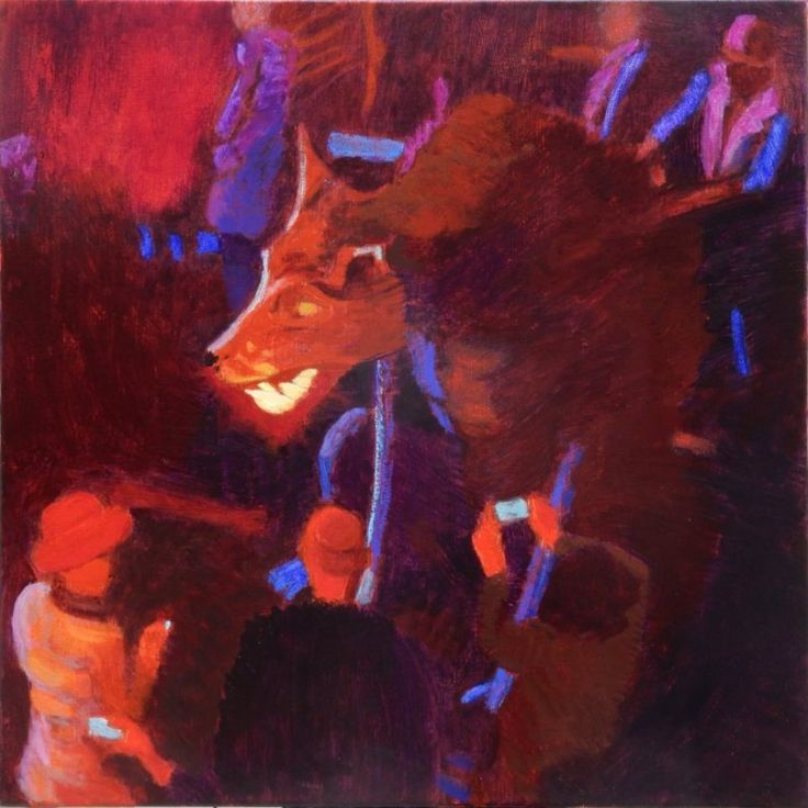 Confronting the beast. 50 x 50 Open acrylic on stretched canvas. Inspired by Lafrowda Festival 2017's lantern procession which was on the theme of 'Where the Wild Things are'.