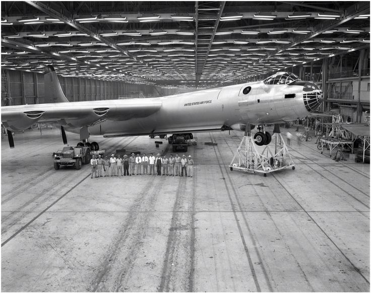B36 assembly the aircraft was so tall it had to have
