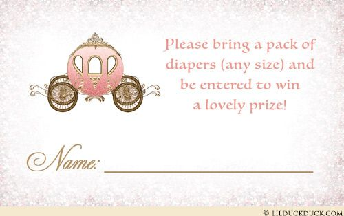 Your little princess is celebrated with these adorable matching fairytale baby shower diaper raffle cards! Custom made to match any princess party invitation design, your royal colors and graphics continue for your regal event.