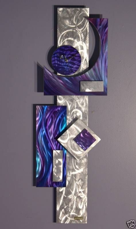 Abstract Painting Clock on Metal, Contemporary Metal Wall Clock Art, Modern…