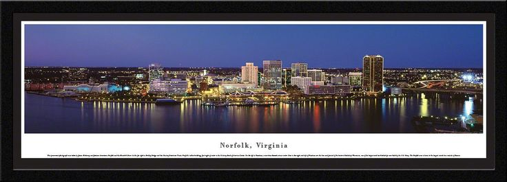 Norfolk Skyline Panoramic Picture Framed, Virginia