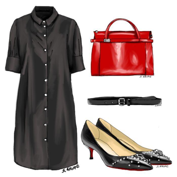 kombinieren sie ein schlichtes blusenkleid mit einem edlen. Black Bedroom Furniture Sets. Home Design Ideas