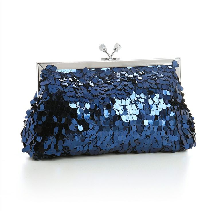 Mariell Navy Blue Oval Sequins Evening Bag Purse Will Add Sparkle To Your Wedding