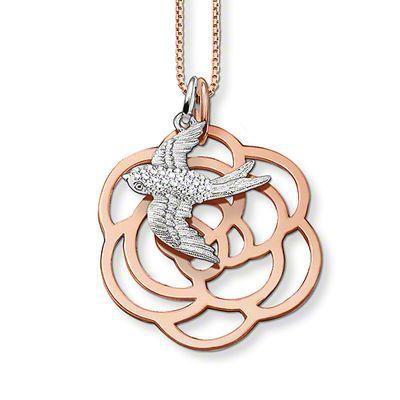 Ласточка и роза ожерелье, Томас стиль глэм и душа хорошие драгоценности для женщин, 2016 ц подарок в розовая позолота, Супер предложения