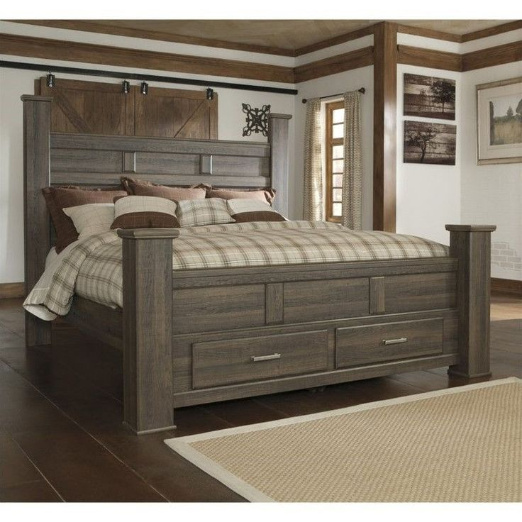 Lowest price online on all Signature Design by Ashley Furniture Juararo Poster Bed Storage Bed in Dark Brown - B251-POSTB-MKIT