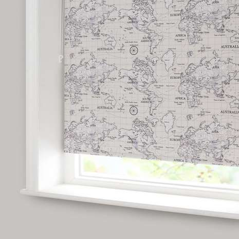 Available to purchase online today, natural roller blind features intricate detailing of the map of the world, perfect for your child's room.
