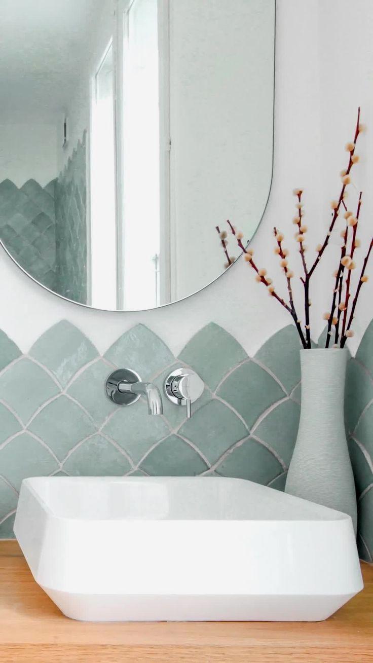 Aqua Fish Scale Bathroom Tiles Mosaic Factory In 2020 Modern White Bathroom Tile Bathroom Bathroom Interior Design