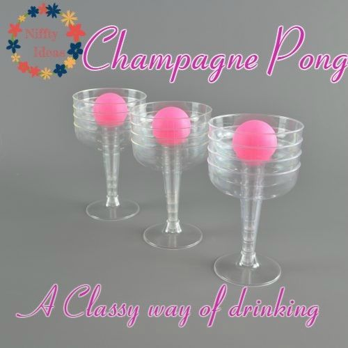 "£9.00 A fresh take on a traditional drinking game played across the world, ideal for Prosecco and champagne lovers! Prosecco is the ""it"" drink for summer 2017. • Set contains 12 wide neck plastic recyclable champagne saucers and 3 PINK ping pong balls. • stocking filler, secret santa, present for any prosecco lover. Buy yours now to play at your next Hen Party, Bridal Shower, Summer Party, Birthday Party"