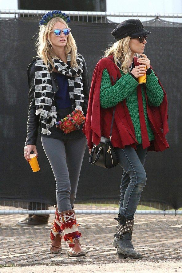 la modella mafia Sienna Miller fashion style at the 2013 Glastonbury festival with Poppy Delevingne