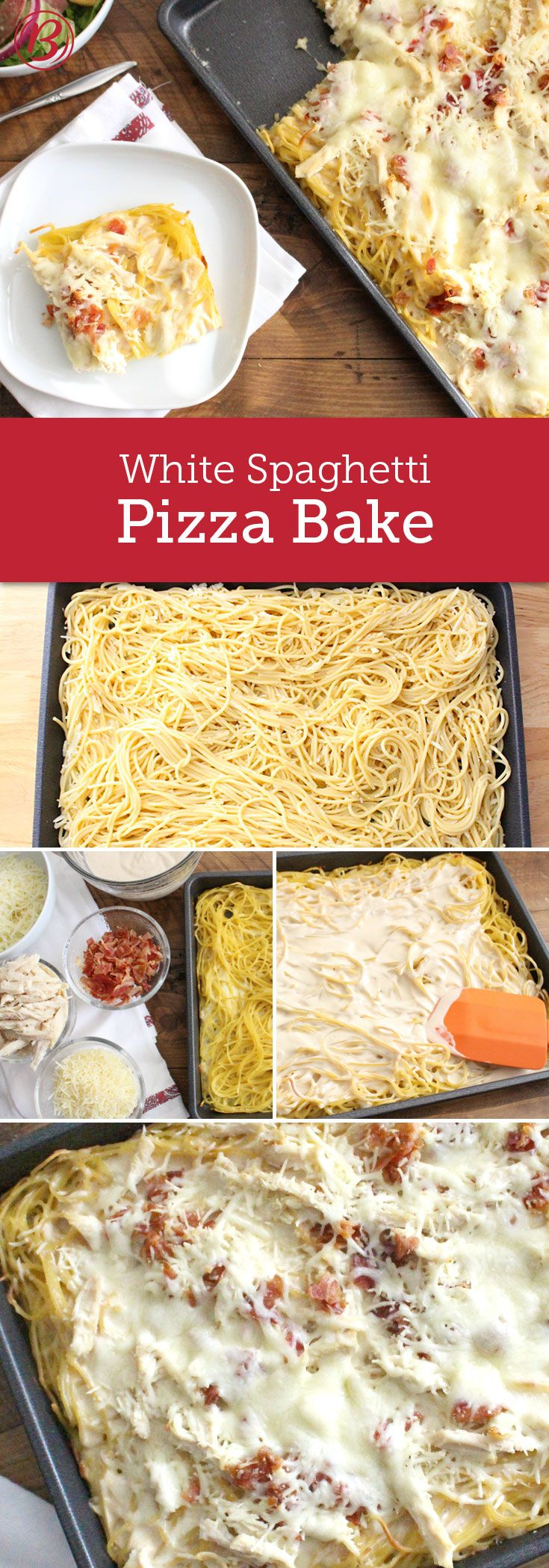 "White pizza toppings including creamy Alfredo sauce, chicken, bacon and mozzarella get piled onto a tasty spaghetti ""crust"" making this twist on our popular Spaghetti Pizza a must-try! Just add a green salad and garlic bread for a full-on family-friendly feast!"