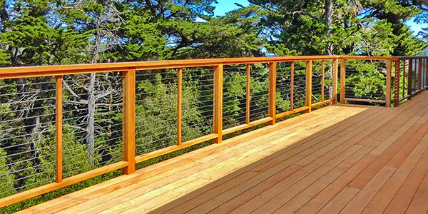 Frame Rigidity Post And Cable Spacing Are Key To A Proper Build Cable Railing Wood Frame Construction Wood Deck Railing