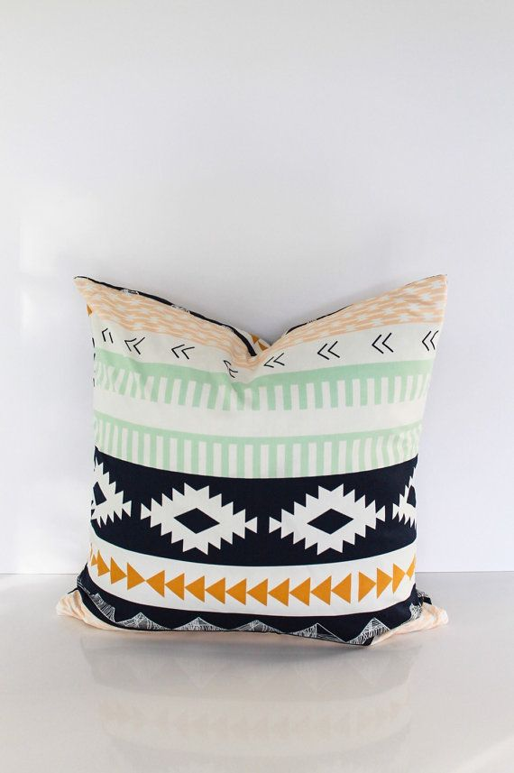 Throw pillow cover, Aztec geometric Organic Cotton. Mint green, Navy blue, mustard yellow Navajo print with Zipper. For indoor use. by CushionCutDecor on Etsy https://www.etsy.com/listing/90082663/throw-pillow-cover-aztec-geometric