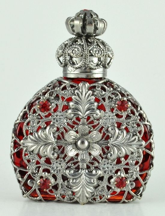 Perfume Bottle Vintage Vanity Silver Tone Filigree Rubine Color Red Crystal Gift
