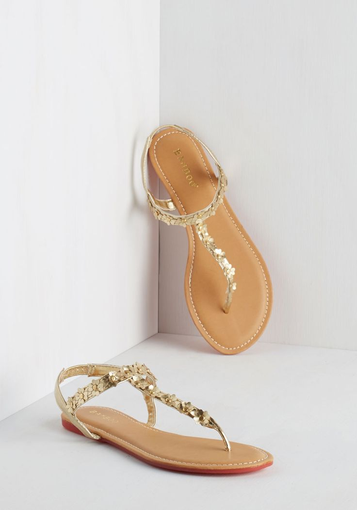 Posy on Over Sandal in Gold. A simple stroll to your neighbors house looks more fab than ever thanks to these metallic gold sandals! #gold #modcloth