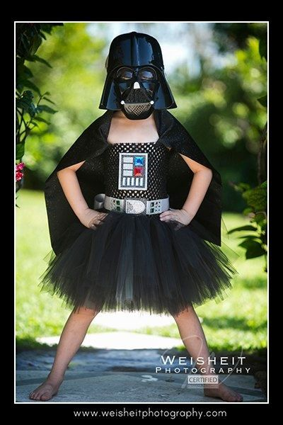 THE DARK SIDE Darth Vader Inspired Tutu Dress with Attached Cape - Large 4-6t