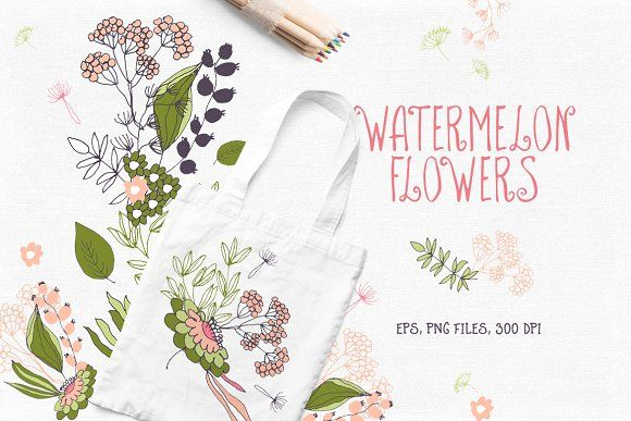 Watermelon Flowers by Bloomart on @creativemarket