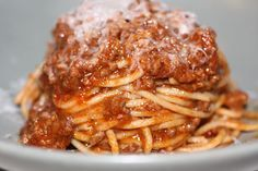 Anne Burrell's Pasta Bolognese. The kind of sauce that cooks for hours and after refrigerating, tastes better the next day
