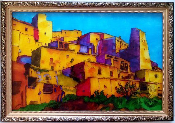 Витражная картина Горная деревня от Stainedglasss500 на Etsy