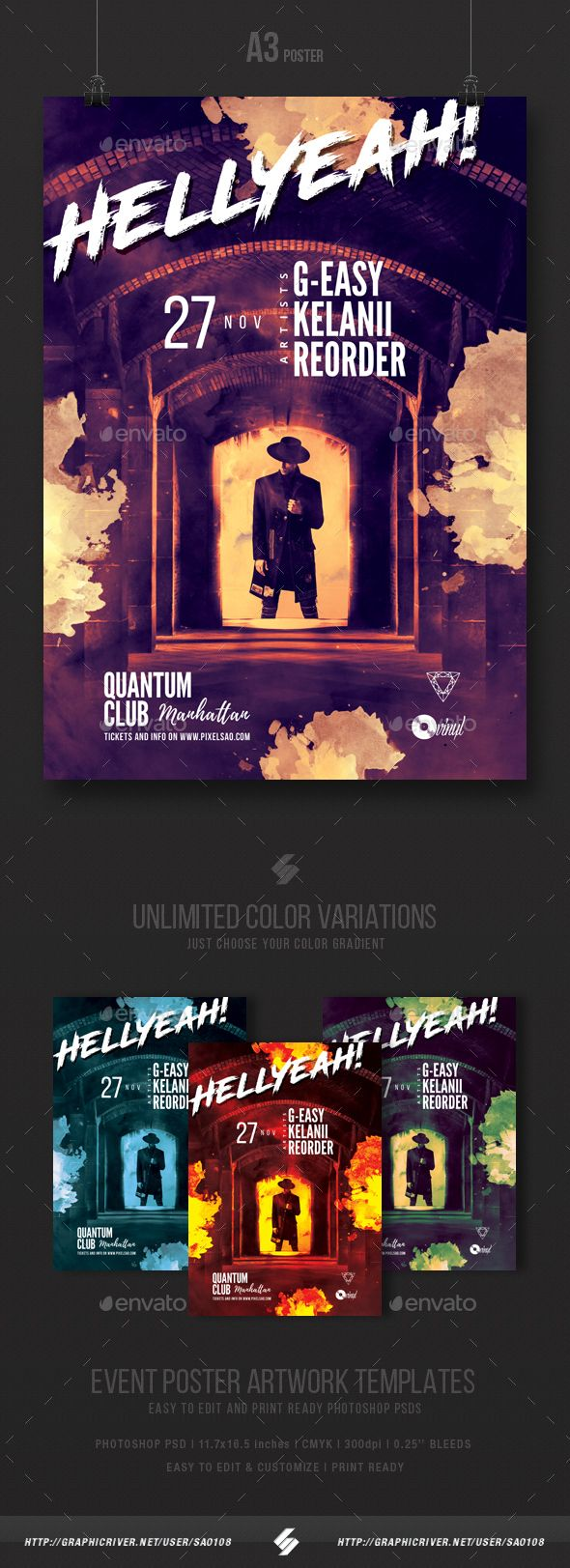 Hell Yeah - Party Flyer / Poster Artwork Template A3. Download: https://graphicriver.net/item/hell-yeah-party-flyer-poster-artwork-template-a3/18712209?ref=thanhdesign