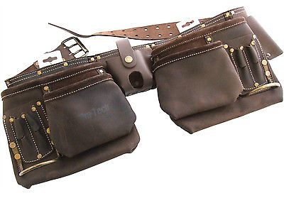 New 12 Pocket Heavy Duty Oil Tanned Leather Tool Belt Pouch Carpenter Builder
