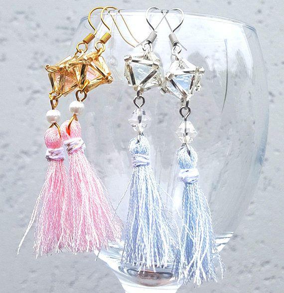 Christmas  Ornament  earring  Himmeli   Tassel  Pink