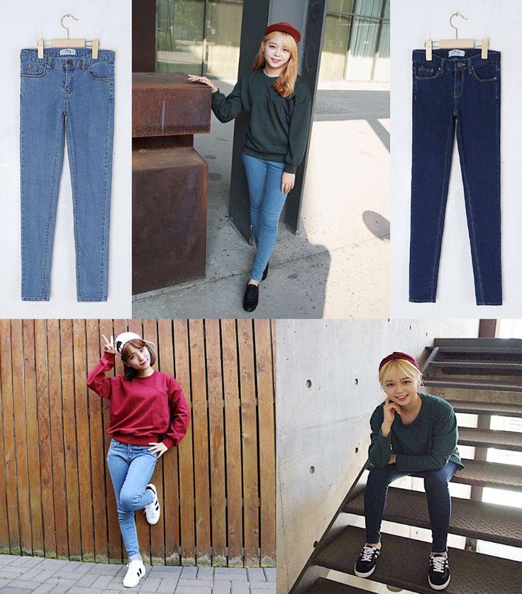 [쫀득스키니 1탄!] #키키코 #KIKIKO #자체제작 #MADE #키작녀 #쇼핑몰 #10대 #여성 #쫀득 #스키니 #연청 #진청 #1탄#Dailylook #Fashion #Model #데일리룩 #모델 #추천
