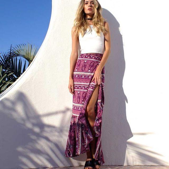 Boho Geïnspireerd vrouwen rok Bloemen Gedrukt maxi lange Zomer casual katoenen rok Gypsy stijl 2017 fashion brand vrouwen kleding