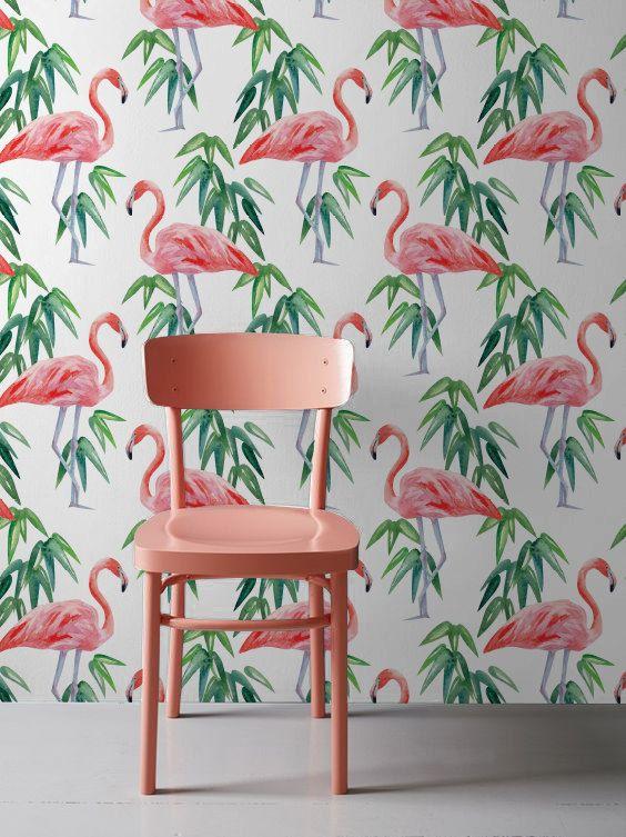 Flamingo Wallpaper, papel tapiz removible Tropical, inquilinos Wallpaper, etiqueta de la pared Flamingo, Flamingo pared Mural, 267
