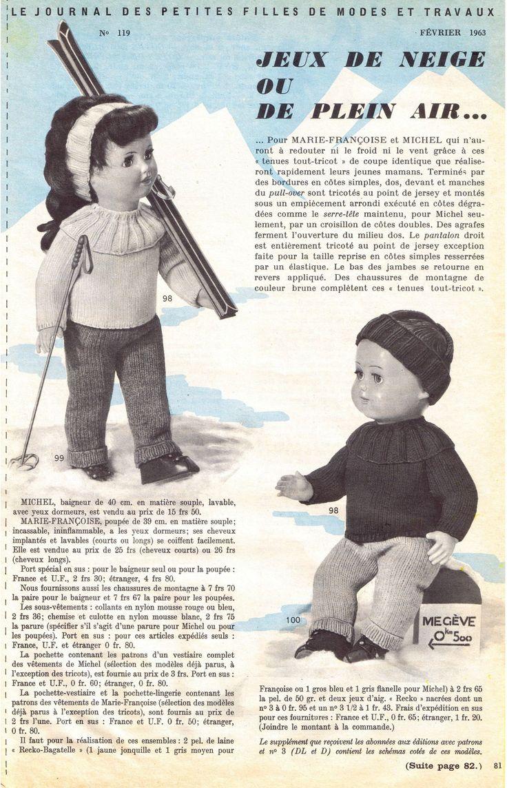 """""""Jeux de neige ou de plein air"""" Fiche N° 119 - M&T de février 1963 - http://augredutemps.canalblog.com/archives/2012/12/20/25970064.html"""