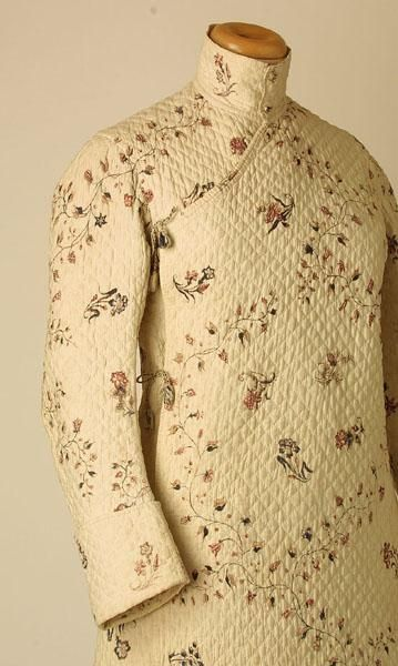 1760-70 Men's Banyan Hand mordant-painted and resist-printed cotton (hand woven in India), quilted and with attached waistcoat front. (Detai