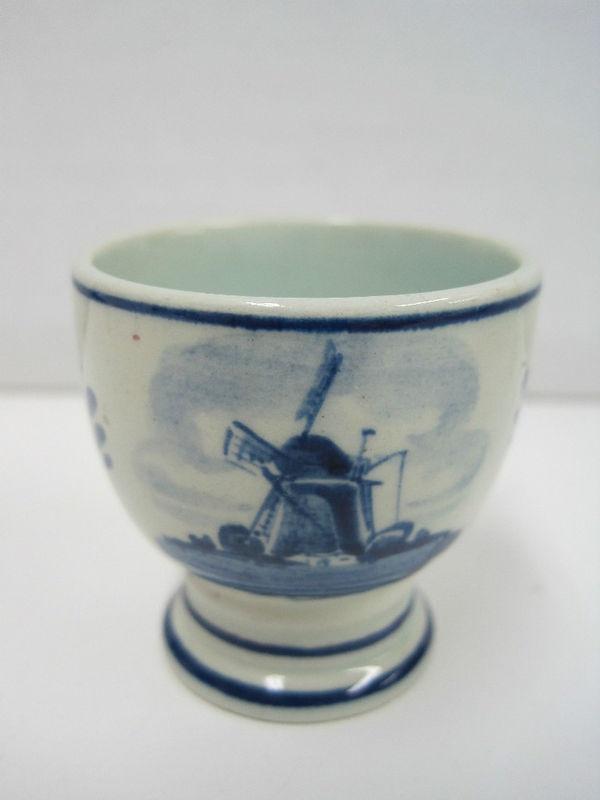 Vintage Delft Egg Cup Holland Dutch Blue White Windmill