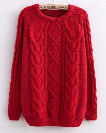 Cabled Sweater in Red