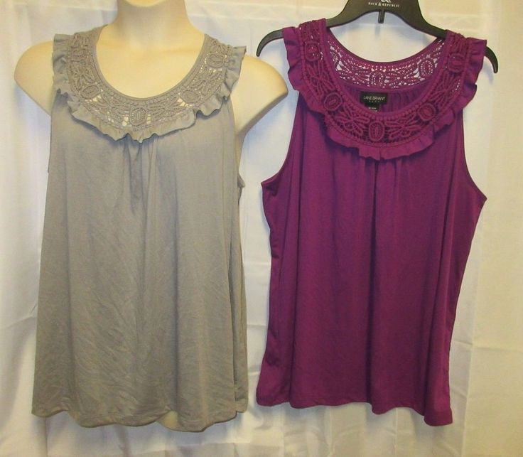 Lot 2 Lane Bryant Tops shirts 18 20 2x Gray Purple Lace Back Summer Spring  #LaneBryant #KnitTop #Casual