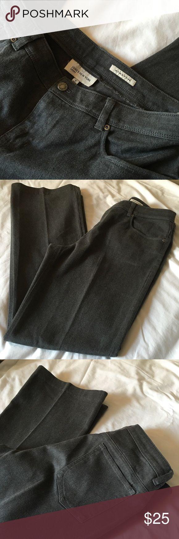 Jones New York Charcoal Stretch Boot Cut Jeans, 12 Jones New York Charcoal Gray / Off Black Stretch Boot Cut Jeans, Size 12, NWOT never worn. Jones New York Jeans Boot Cut