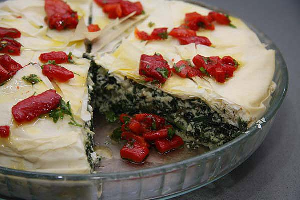Spinach pie. I love the fresh herb flavour through this, and loved it with capsicum.  Vegetarian.