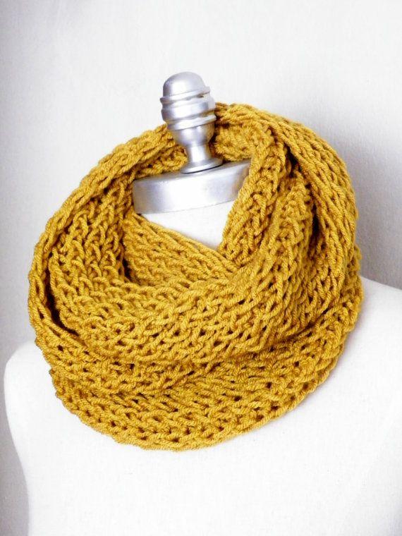 Mustard Scarf Knit Infinity Scarf Gold Mustard by jamiesierraknits