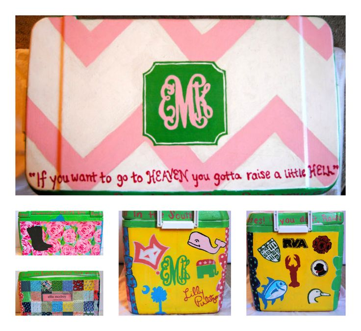 College Hand Painted Coolers by PreppyandPainted on Etsy