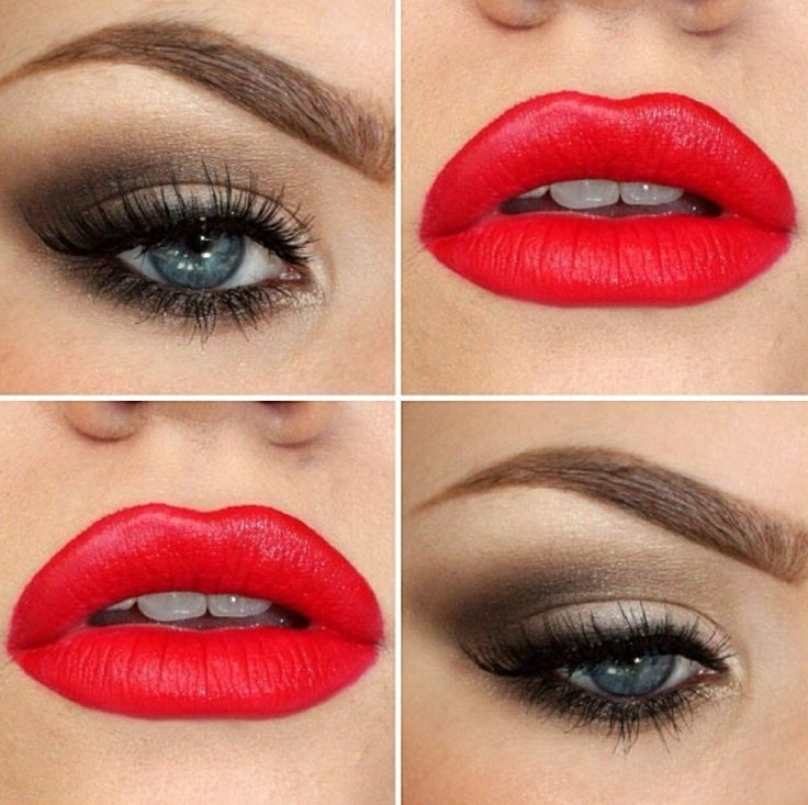 Bright red lips and a brown smokey eye. Good for a holiday party.