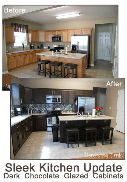 Sleek, Dark Chocolate Painted Kitchen Cabinets remodelaholic.com #kitchen #paint #cabinets