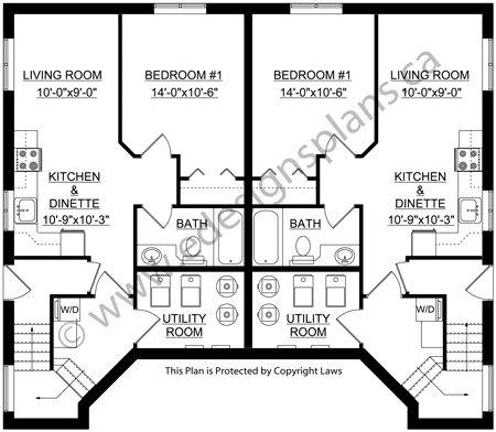 72 best duplex images on pinterest duplex house plans for Side by side duplex plans
