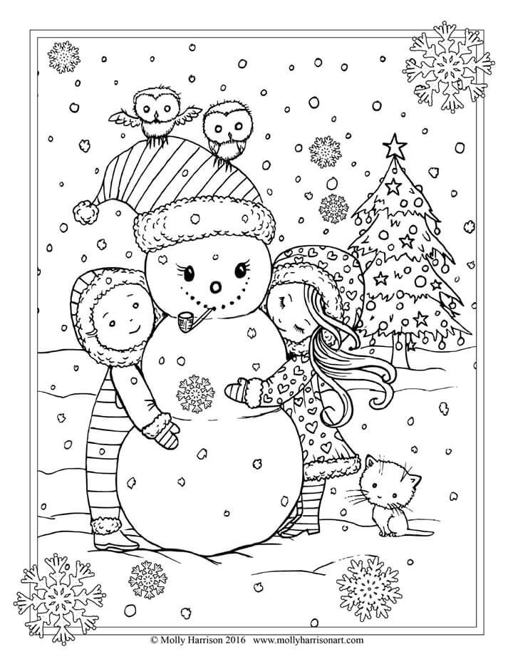 free christmas coloring page by molly harrison snowman and children - Christmas Coloring Pages For Adults