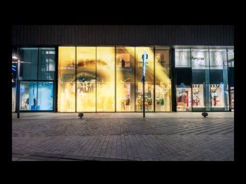 Big screen on glass 80% transparent led - YouTube