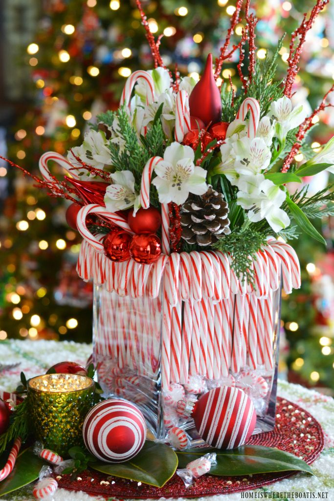 Merry And Bright Candy Cane Christmas Tablescape Christmas Centerpieces Diy Christmas Table Centerpieces Christmas Centerpieces
