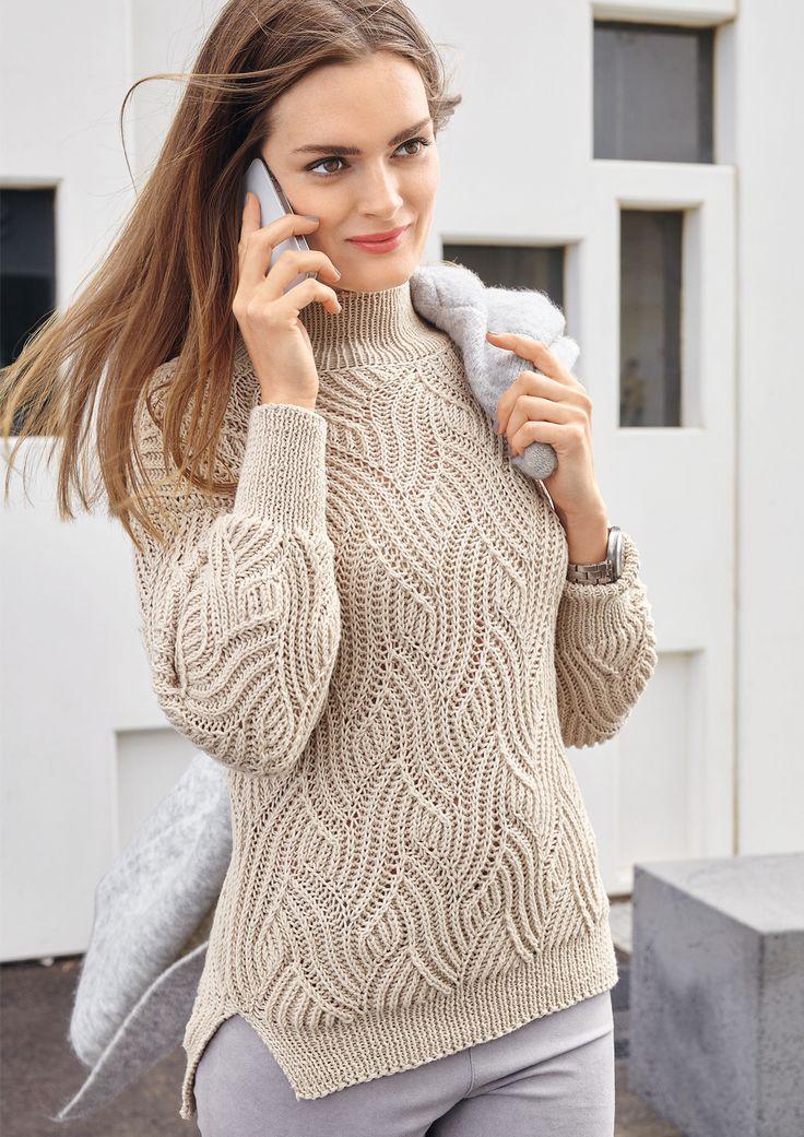 Свитер с рельефным волнообразным узором Красивый рельефный узор этого свитера привлекает внимание, а практичная пряжа из шерсти и хлопка делает модель очень приятной в носке.  Журнал «Verena Подиум» № 2/2016
