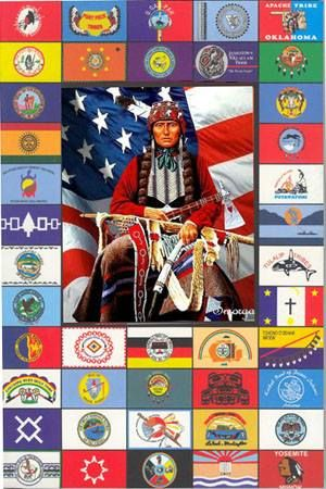 Because the Native Americans were the first people in this country, many of the United States of America flags consist of Native American Indian imagery and symbols. Some states that have a Native American Indian flag include Massachusetts and Oklahoma.http://bit.ly/Ssltjs