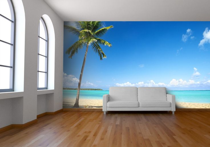 Beach wall mural available at wallpapered.com