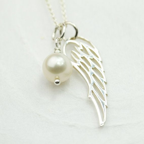 Miscarriage Necklace - Remembrance Necklace, Miscarriage Jewelry, Sterling Silver Angel Wing with Freshwater Pearl, Handmade Memory Jewelry on Etsy, $37.00