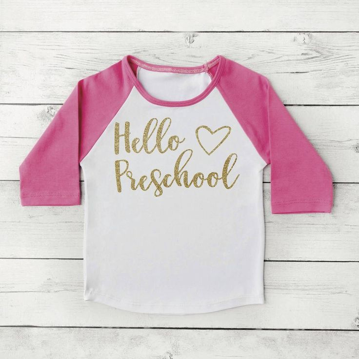 Hello Preschool Shirt, Back to School Clothes for Girls, 1st Day of School Photo Prop 307 #1st_day_of_preschool #1st_day_of_school #1st_day_outfit